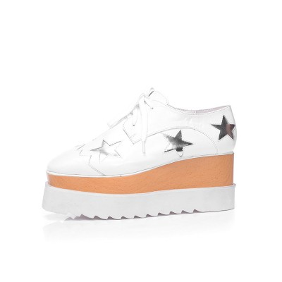Women's Closed Toe Patent Leather Platform Wedge Heel With Lace-up White Fashion Sneakers