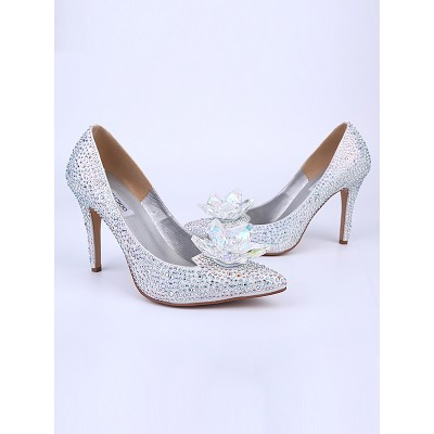Women's Closed Toe Stiletto Heel With Crystal Flower Silver Wedding Shoes