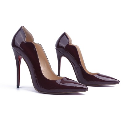 Women's Patent Leather Stiletto Heel Closed Toe Office High Heels