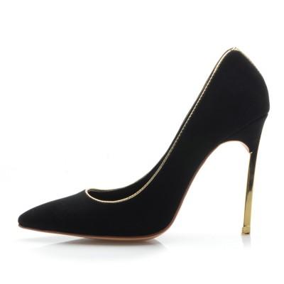 Women's Black Suede Closed Toe Stiletto Heel High Heels
