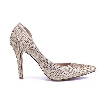 Women's Closed Toe Satin Stiletto Heel With Rhinestone High Heels