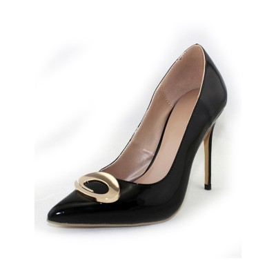 Women's Patent Leather Closed Toe Stiletto Heel Office High Heels