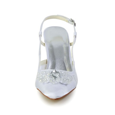 Women's Satin Cone Heel Closed Toe White Wedding Shoes With Buckle