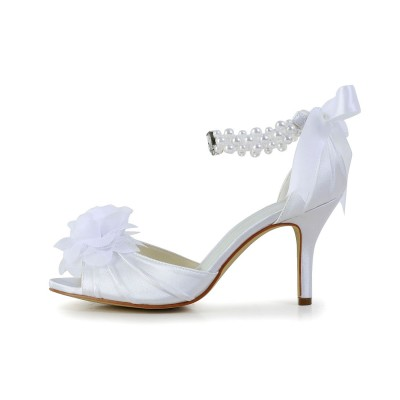 Women's Satin Stiletto Heel Peep Toe Dance Shoes With Imitation Pearl