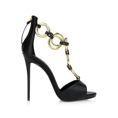 Women's Sheepskin Peep Toe Stiletto Heel Platform With Chain Sandals Shoes
