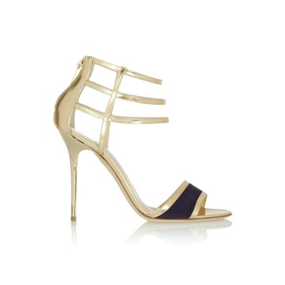 Women's Patent Leather Peep Toe Stiletto Heel Sandals Shoes