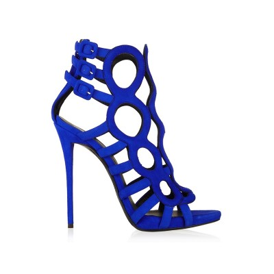 Women's Suede Peep Toe Stiletto Heel Sandals Shoes