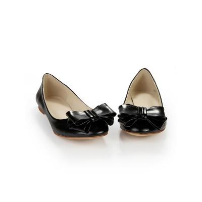 Women's Sheepskin Flat Heel Closed Toe With Bowknot Flat Shoes