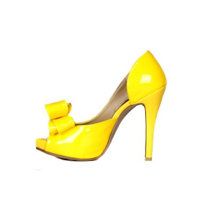 Women's Patent Leather Stiletto Heel Peep Toe Platform With Bowknot High Heels