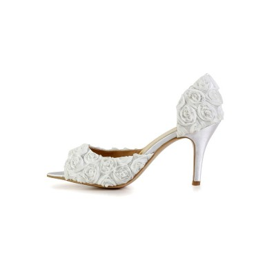 Women's Stiletto Heel Silk Peep Toe With Flower White Wedding Shoes