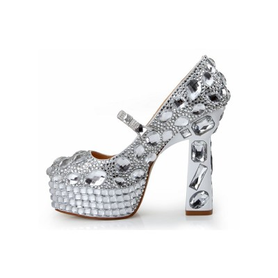 Women's Patent Leather Closed Toe Chunky Heel Platform With Rhinestone Platforms Shoes