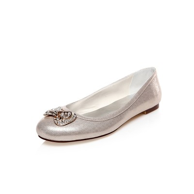 Women's PU Closed Toe Rhinestones Flat Heel Wedding Shoes