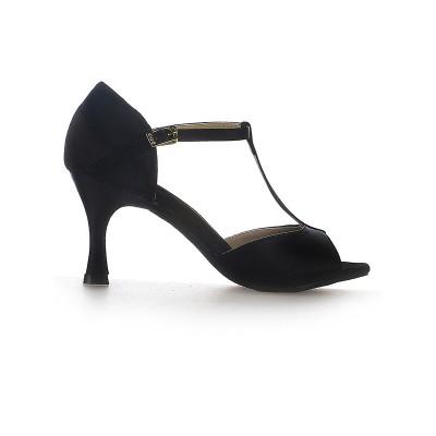 Women's Satin Stiletto Heel Peep Toe Buckle Dance Shoes