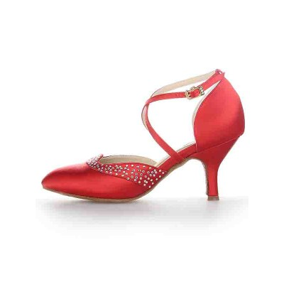 Women's Satin Closed Toe Stiletto Heel Buckle Dance Shoes