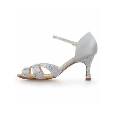 Women's Satin Stiletto Heel Peep Toe With Sparkling Glitter Dance Shoes