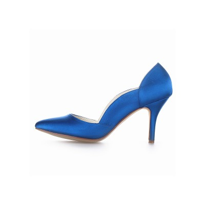 Women's Closed Toe Satin Cone Heel High Heels
